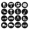 set black round icons construction building tools vector image