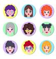 set girls avatar vector image vector image