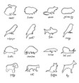 set of animals sketch hand drawn vector image