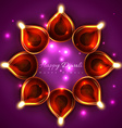shiny background of diwali diya vector image vector image
