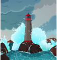stormy seaside landscape vector image vector image