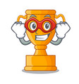 super hero cartoon trophy cup with star on cyan vector image