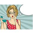 Surprised pop art woman chatting on retro phone vector image vector image