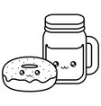 sweet donuts and drink kawaii character vector image vector image
