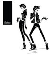 two fashion women in sketch style vector image