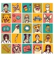 Veterinary doctors pets icons and objects set vector image