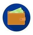 Wallet with cash icon in flat style isolated on vector image vector image