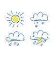 weather set icons on blue vector image vector image