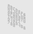 white vertical isometric font alphabet from right vector image vector image