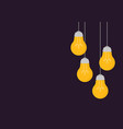 with hanging light bulbs background in cartoon vector image