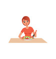 young woman cooking salad preparing healthy meal vector image vector image