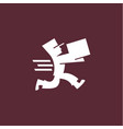 running man postal box courier with parcel vector image