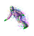 abstract snowboarder from a splash of watercolor vector image vector image
