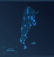 argentina map with cities luminous dots - neon vector image