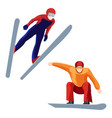athlete on skis and professional snowboarder vector image vector image