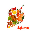 autumn pumpkin leaf foliage greeting poster vector image vector image