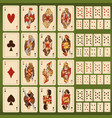 big set playing cards with stylized vector image
