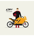 Biker standing with motorcycle vector image