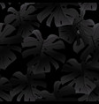 black seamless pattern of black monstera leaves vector image