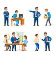 boss in office director firing man bad employee vector image vector image