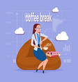 business woman having lunch during coffee break in vector image