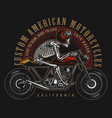 cafe racer custom motorcycle vintage label vector image vector image