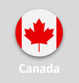 canada flag round icon with shadow vector image vector image