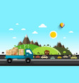 cars on the road natural landscape vector image