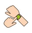 cartoon hand touchscreen smart watch wearable vector image vector image
