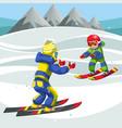 cartoon happy children skiing in winter snowy park vector image