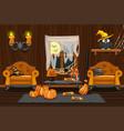 cellar house interior wooden room vector image vector image