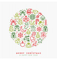 christmas and new year outline icon greeting card vector image vector image