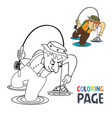 coloring page with fishing man cartoon vector image vector image