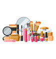 cosmetics for skincare and makeup banner for vector image vector image