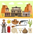 cowboy icons set and wild west scene vector image vector image