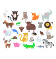 cute animals cartoon flat set vector image