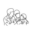 father and mother holding their baby in arms vector image vector image