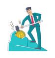 flat businessman bitcoin mining hummer vector image vector image
