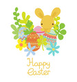 flat rabbit with easter eggs with flowers vector image vector image
