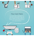 flat workplace of designer with devices vector image vector image