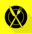 fork tape and knife sign black icon with flat vector image