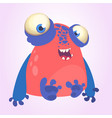 goofy red monster with blue hands cartoon vector image vector image