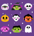 halloween cute monster avatar set vector image vector image