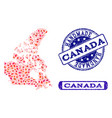 handmade composition of map of canada and grunge vector image vector image