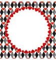 Harlequin Hearts Red Black and White Art vector image
