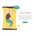 healthy sleep landing page template with space for vector image