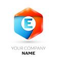 letter e logo symbol in colorful hexagonal vector image