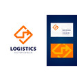 logistics logo and business card template vector image vector image