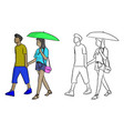 man walking with his lover with a green umbrella vector image