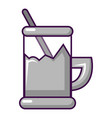 metal glass cup for tea icon cartoon style vector image vector image